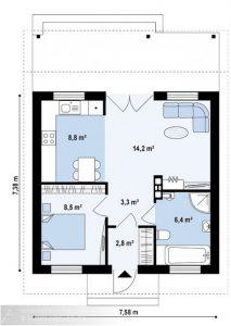 Каркасный дом 44 м²