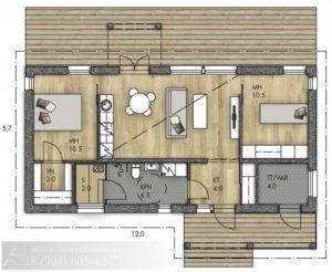 Каркасный дом 68 м²