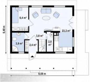 Дом из бруса 84 м²